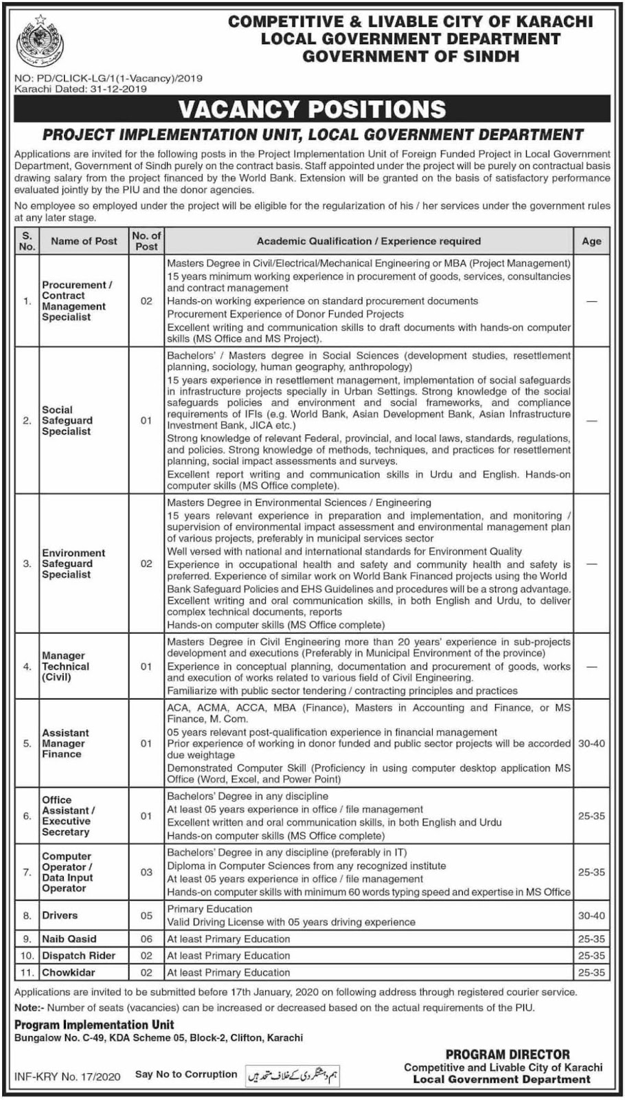 Local Government Department Sindh Jobs 03 Jan 2020