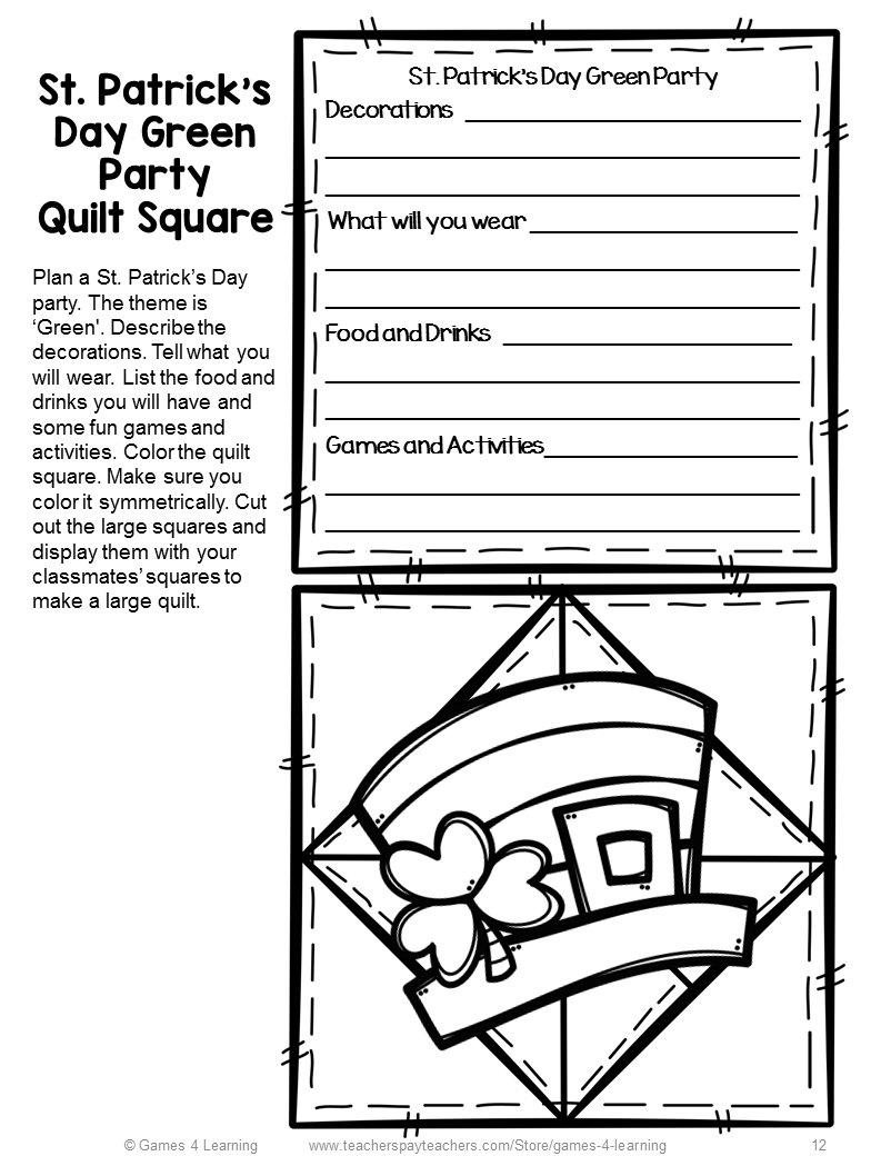 fun games 4 learning st patrick u0027s day writing prompts