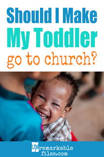 It would be easier for parents to skip church when they have loud babies, wiggly toddlers, and restless preschoolers. But there's a great reason to have your kids in church and go to church as a family every Sunday, and you don't need to worry about 'forcing your beliefs' on your kids, either. #parenting #church