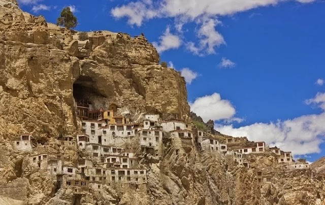 Monastery precariously on a cliff in India