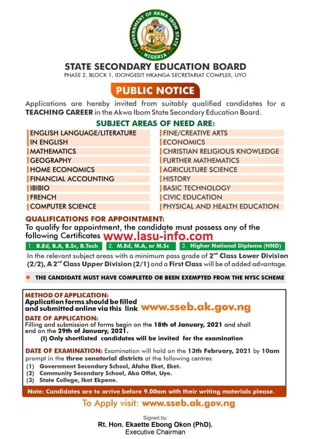 Akwa Ibom (SSEB) Teacher's Recruitment Form 2020/2021