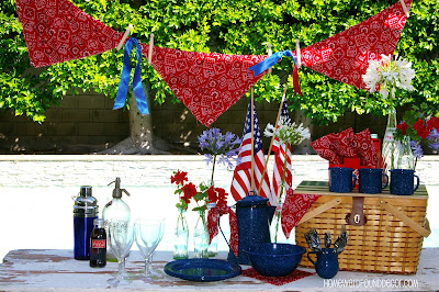 beach style, coastal style, color, color palettes, DIY, diy decorating, entertaining, events, Fourth of July, outdoors, party, re-purposing, red white and blue, summer, Sweet Sweater Originals, up-cycling