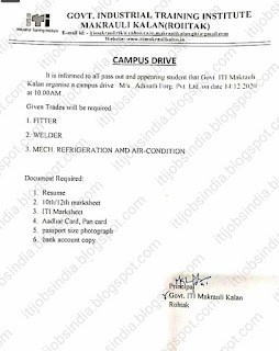 ITI campus Placement Drive at Govt ITI Makrauli Kalan Haryana For Company Adinath Forg Pvt. Ltd.