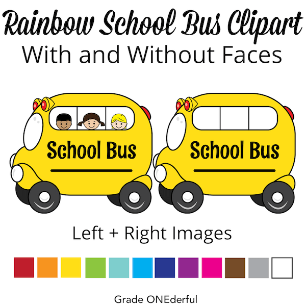 Rainbow school bus clip art set
