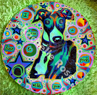 vinyl LP record painted with inspiration from an Italian greyhound that I know