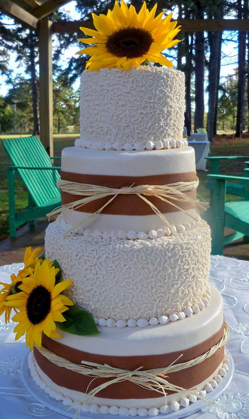 rustic wedding cakes with sunflowers wedding cake sunflower wedding cakes 19574