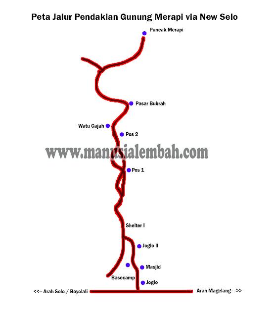 peta jalur Pendakian Gunung Merapi via New Selo