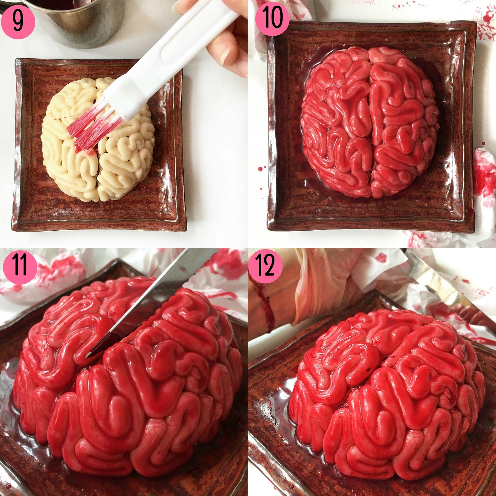 How to make a fondant halloween brain cake