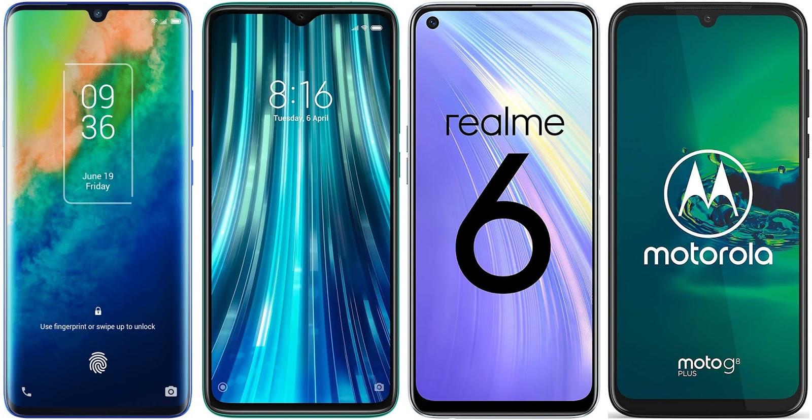 TCL 10 Plus vs Xiaomi Redmi Note 8 Pro vs Realme 6 vs Motorola Moto G8 Plus