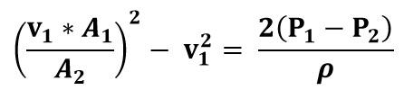 Expresión de tubo Venturi en función de una sola velocidad del fluido