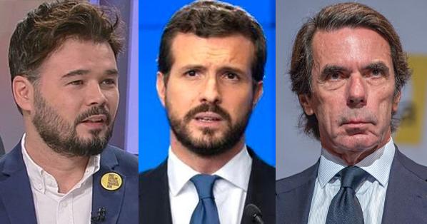 Gabriel Rufián incendia las redes tras publicar un meme sobre Aznar y Casado
