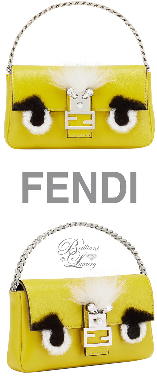 Brilliant Luxury ♦ Fendi micro yellow leather baguette bag