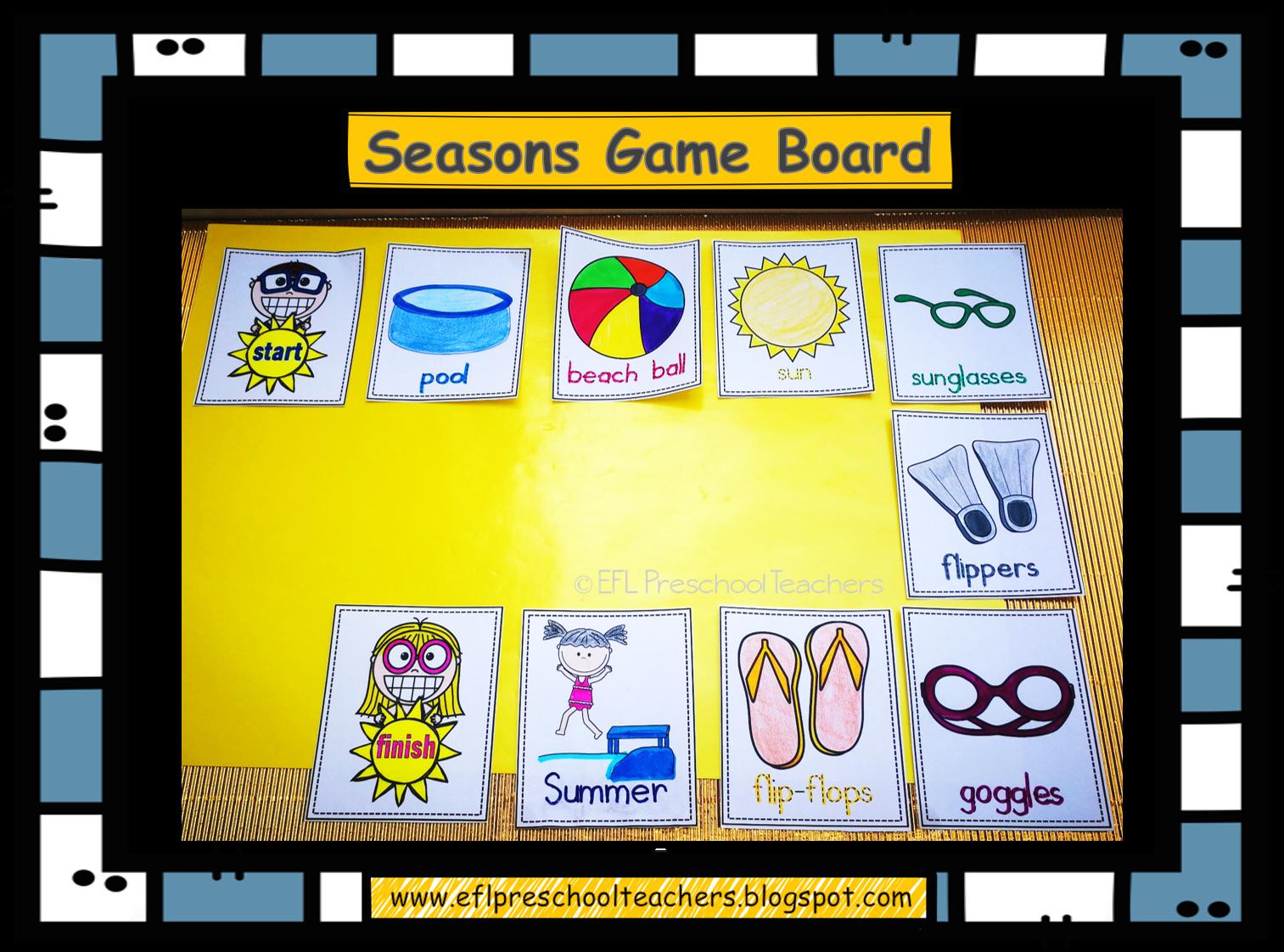 Esl Efl Preschool Teachers Seasons Unit Worksheets For