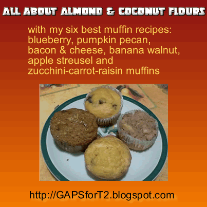 how to bake with almond flour/meal and coconut flours with bonus recipes for blueberry muffins, pumpkin pecan muffins, bacon and cheese muffins, banana walnut muffins, apple streusel muffins and zucchini-carrot-raisin muffins