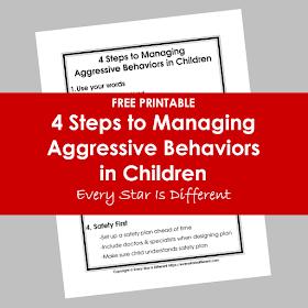 4 Steps to Managing Aggressive Behaviors in Children Free Printable