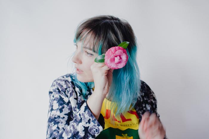pink flower blue hair