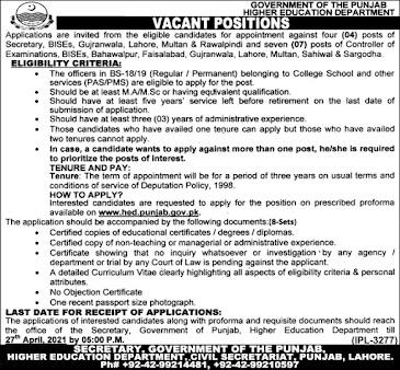 Higher Education Department jobs 2021
