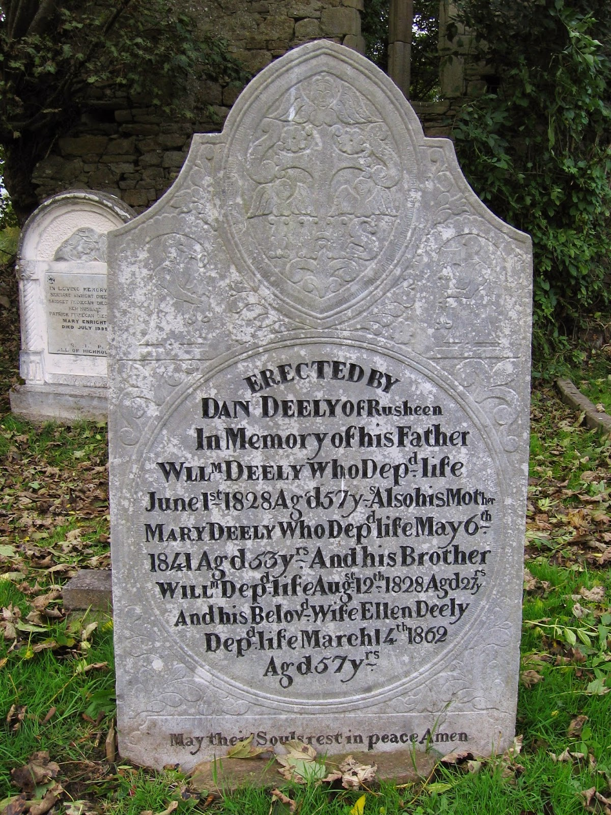 Memorial for Deely family members buried at Castletown in County Limerick Ireland