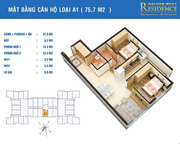 Căn A1 75,7 m2