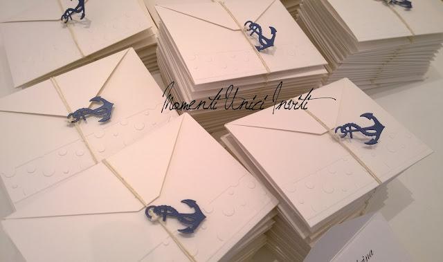 Immagine Le partecipazioni di Sabrina e GabrieleColore Bianco Colore Blu Tema mare