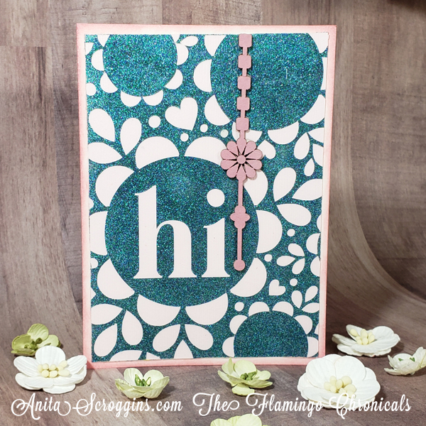 Glittery card front