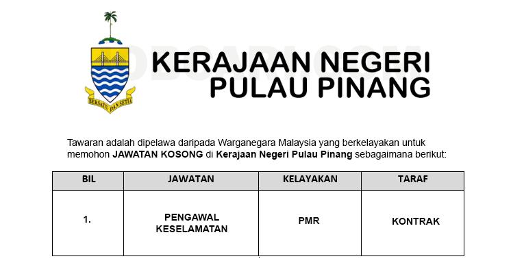 Kerajaan Negeri Pulau Pinang [ Jawatan Kosong Terbaru ]