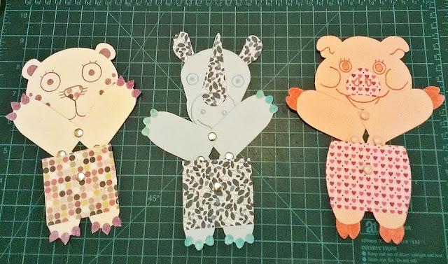 juguetes de papel articulados - leopardo, rinoceronte y cerdo