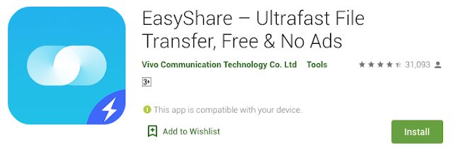 EasyShare – Experience the best data-free file transferring and sharing app on Play Store.