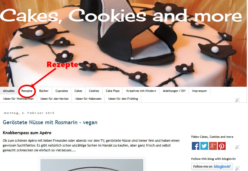 Rezeptsammlung auf Cakes, Cookies and more
