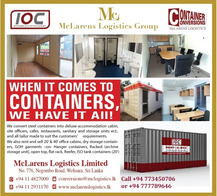 We are by far, Sri Lanka's leading container conversion supplier. Catering to Local and International customers, we work with 20' & 40' container configurations to meet specific requirements. Our award winning fabrication team converts boxes into everything you can imagine; homes, cafeterias, site offices, laboratories, toilet suites and display units. Our workmanship is unmatched as is our overall expertise in this area. Our list of satisfied clients using our standard models and benefiting from their multiple uses is many. NGO's, Construction Companies, Banks, Cafes, Dockyards, Govt Institutions, Sports Clubs, Armed Forces; the list is as long as you can make it! Converted Containers are available with insulation, partitioning and sanitation. These have the advantage of being portable, quickly deployable, cost competitive and sitting on conventional structures. Units can be designed with doors, windows, lighting, air conditioning, toilet facilities, etc.