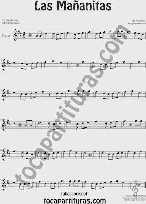 Las MañanitasPartitura de Trompa y Corno Francés en Mi bemol Sheet Music for French Horn Music Scores
