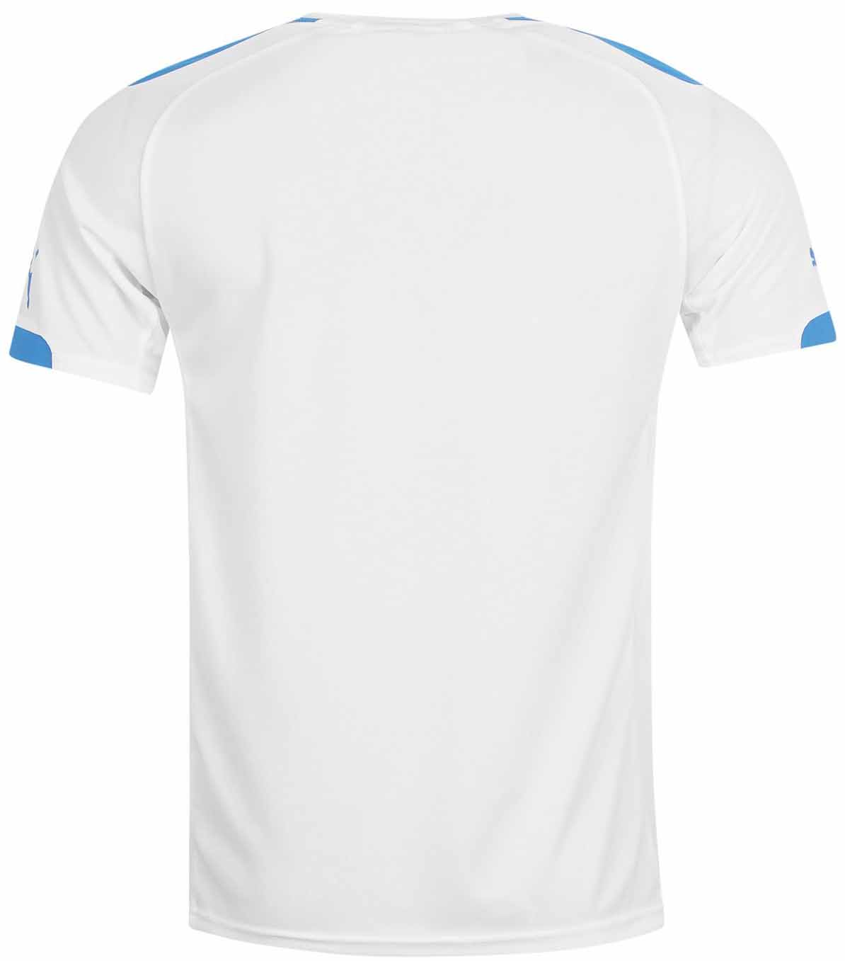 a46790f35b2 The white Glasgow Rangers 2014-15 Away Shirt has blue accents in the  shoulder area and the sleeve cuffs, while there are red lines on both sides.