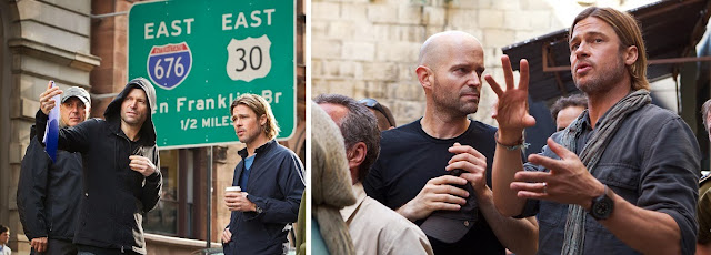 Director Marc Foster and Brad Pitt on the sets of World War Z (2013) based on Max Brooks novel