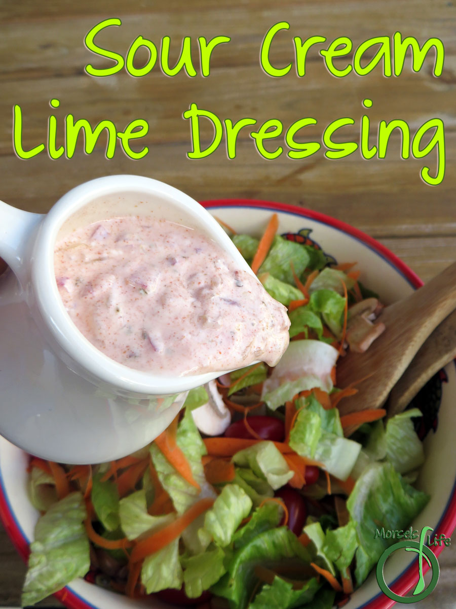 Morsels of Life - Sour Cream Lime Dressing - Throw together a simple Mexican-inspired sour cream lime dressing with a mere 4 ingredients! Simple, fresh, and easy.
