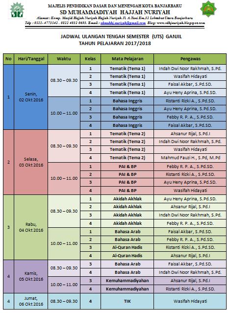 Jadwal UTS Ganjil TP. 2017-2018
