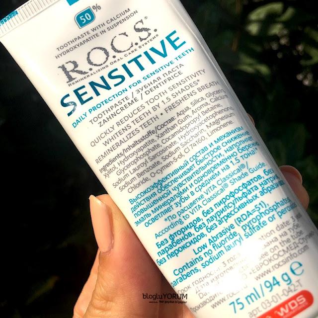 Rocs Sensitive Repair Whitening Diş Macunu Onarım Beyazlatma içerik