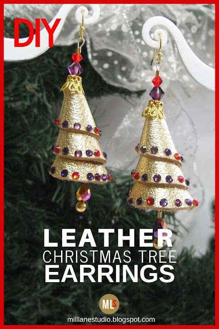 Jewelled Leather Christmas Tree Earrings Inspiration Sheet