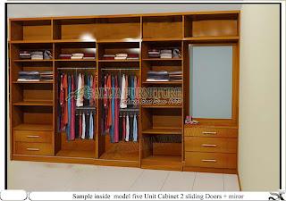 Dalam lemari pakaian model minimais cabinet unit Five