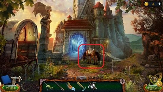 стоит лошадь с сумкой около замка в игре затерянные земли 4 скиталец