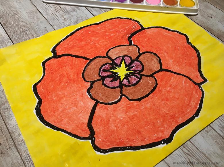 Georgia O Keeffe Poppy craft for kids