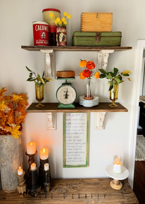Fall decor with fall bucket list dry erase frame
