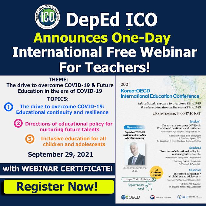 DepEd ICO announces Free International Webinar for Teachers on September 29, 2021 | REGISTER NOW!