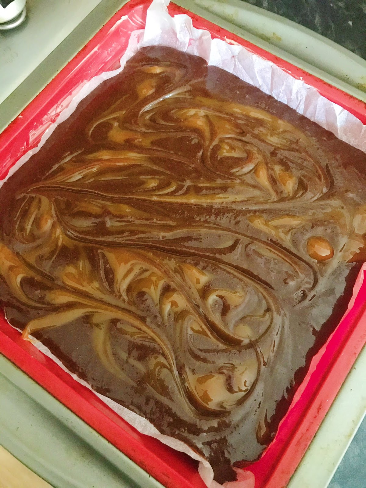 caramel swirled on top of brownies