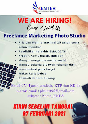 Loker Kupang Freelance Marketing Photo Studio di Senter