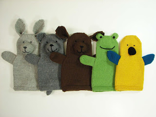 hand, puppet, knit, pattern, menagerie, pets, bunny, cat, dog, frog, parrot