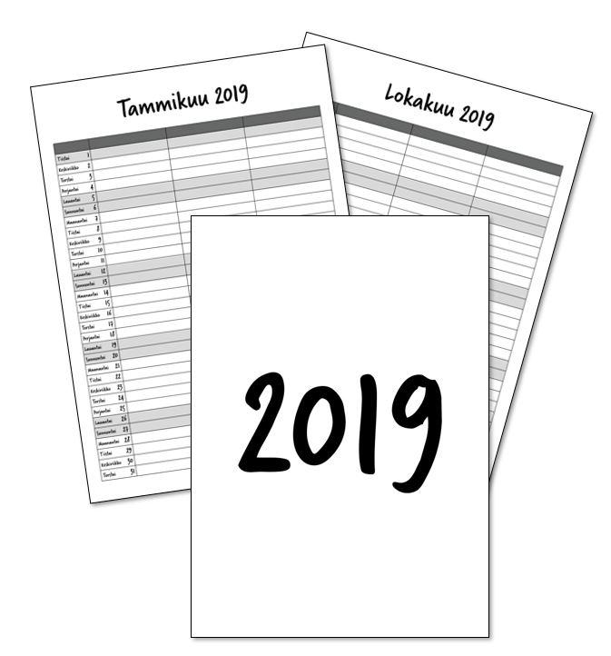 tulostettava kalenteri 2018