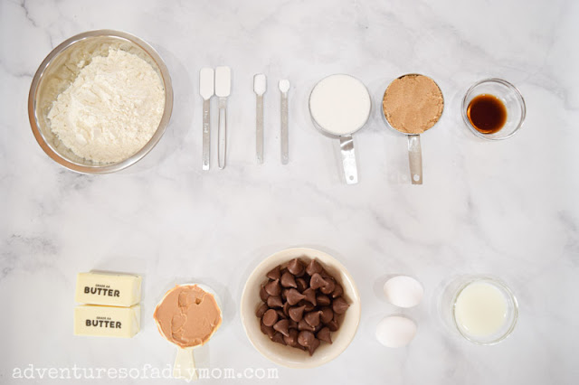 ingredients for peanut butter kiss cookies