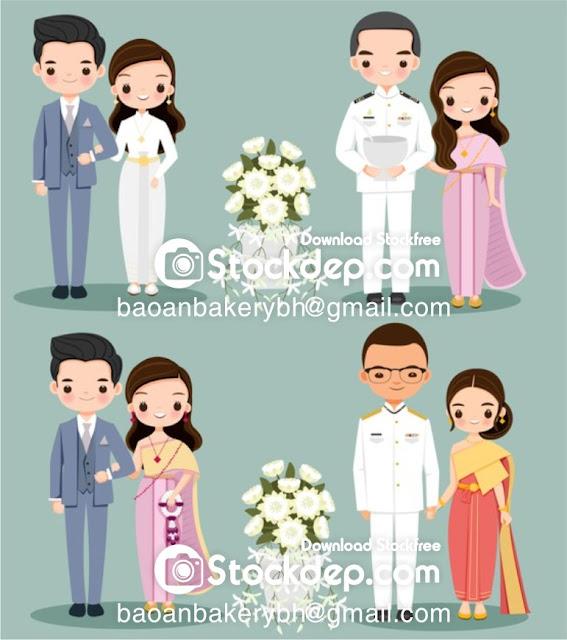 Chia sẻ vector Dâu rể in thiệp cưới