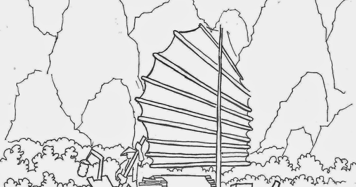 Coloring Pages For Kids By Mr Adron Page Of A Chinese Sampan Riverboat