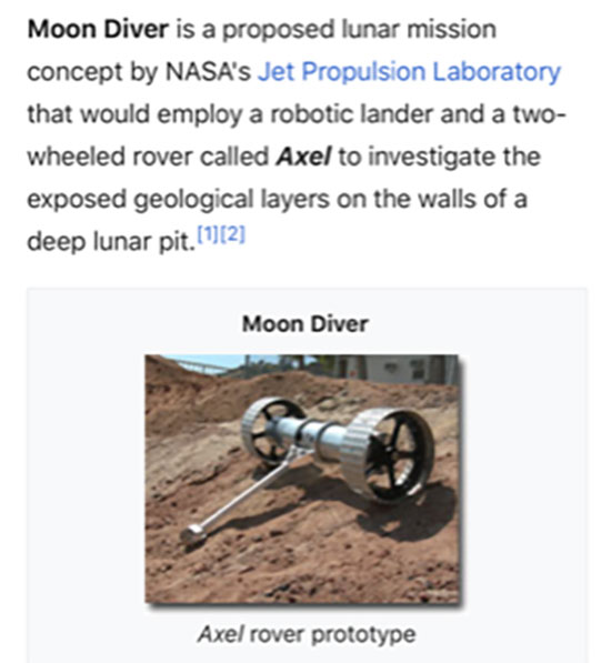 Proposed NASA Axel rover that uses tether to repel into lunar pits (Source: Wikipedia)